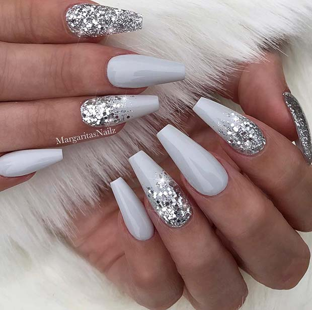 Grey and Silver Glitter Coffin Nails