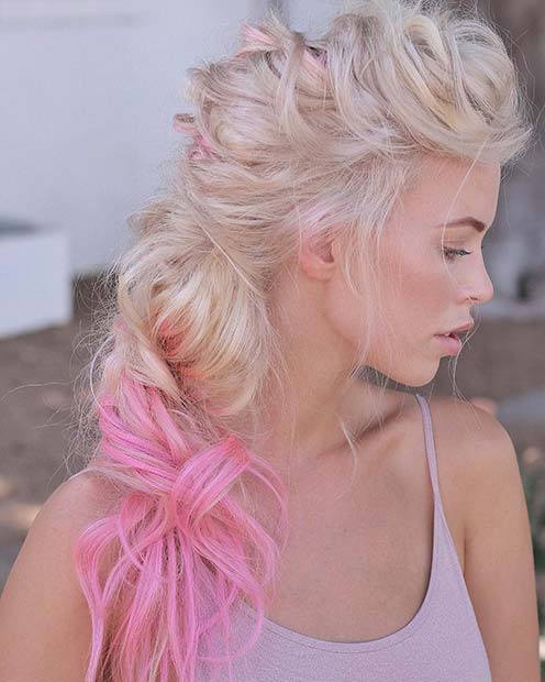 Blonde Hair with Pink Tips