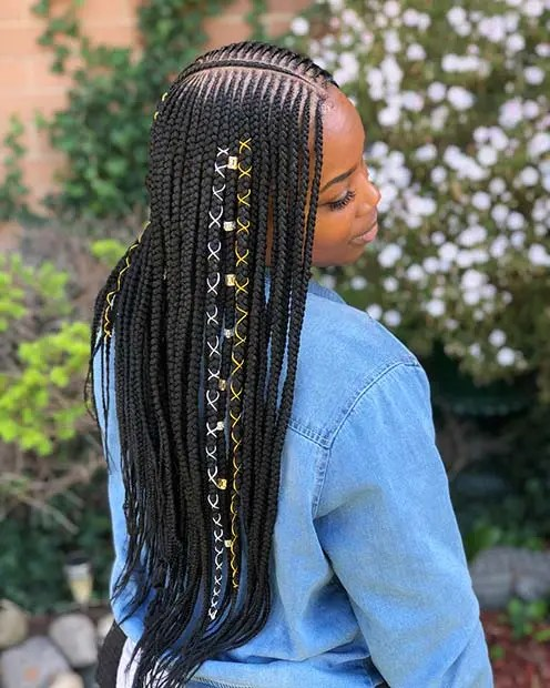 Tribal Feed In Braids with Cords