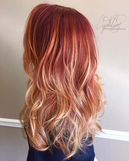 Vibrant Strawberry Ombre Hair