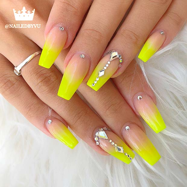 Yellow Coffin Acrylic Nails with Rhinestones