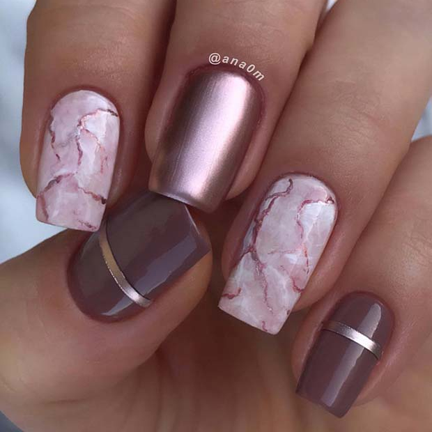 Marble Nails Acrylic Coffin Pink