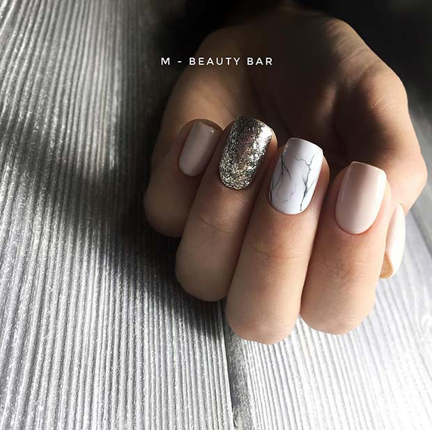 Elegant Marble Nail Design for Short Nails