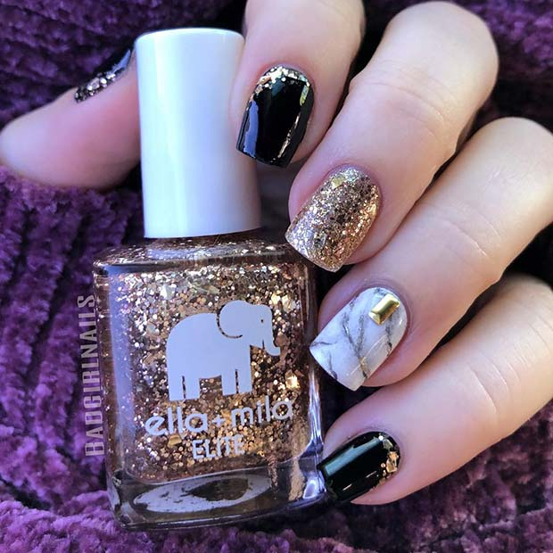 Black and Gold Nails with Marble