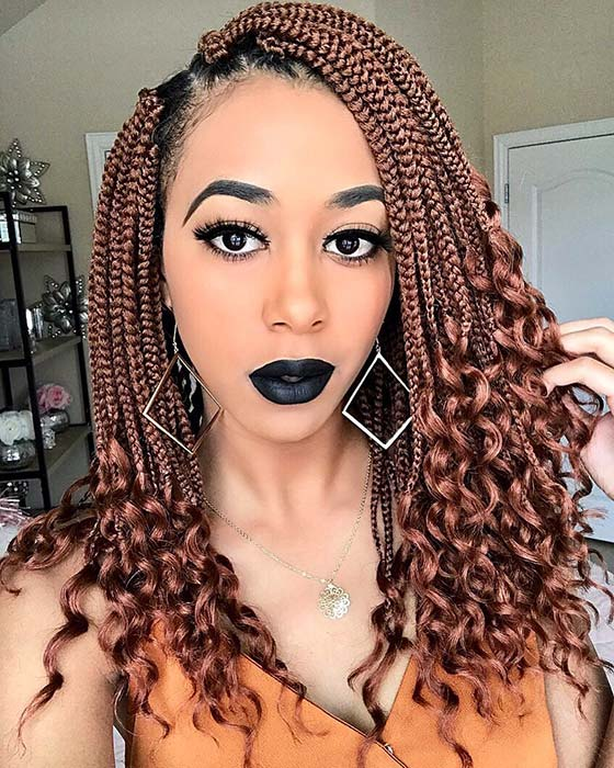 Medium Box Braids with Curly Ends