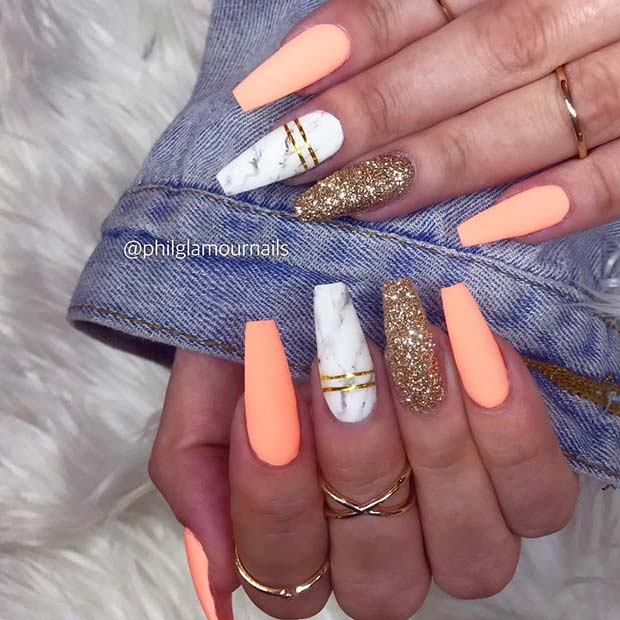 Matte and Marble Coffin Nails
