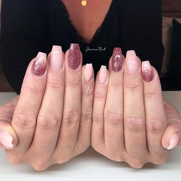 Beautiful Pink and Glitter Short Coffin Nails