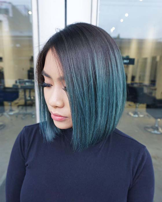 Blue Short Ombre Hair