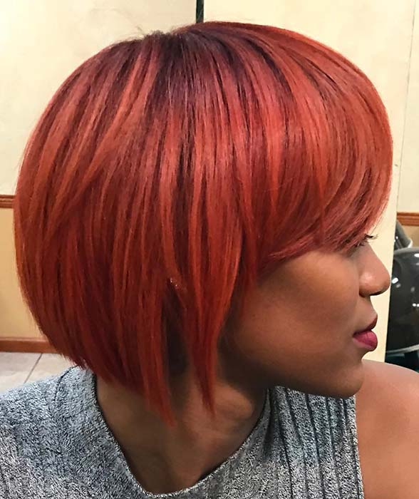 Bold, Red Bob Hairstyle for Black Women