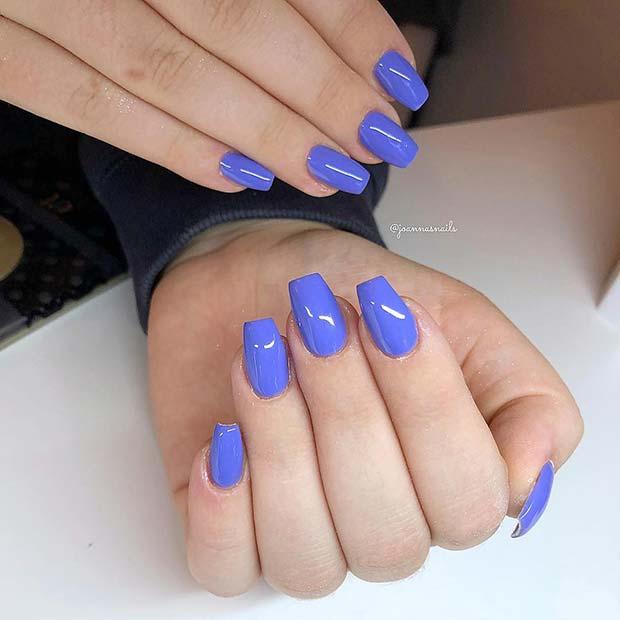 Bright Blue Coffin Nails