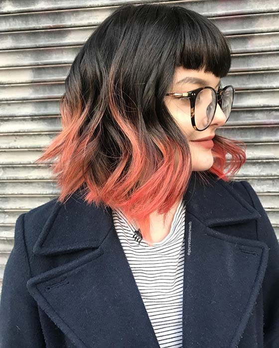 Bright Ombre Bob with Bangs