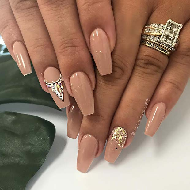 Coffin Nails with Rhinestones and Glitter