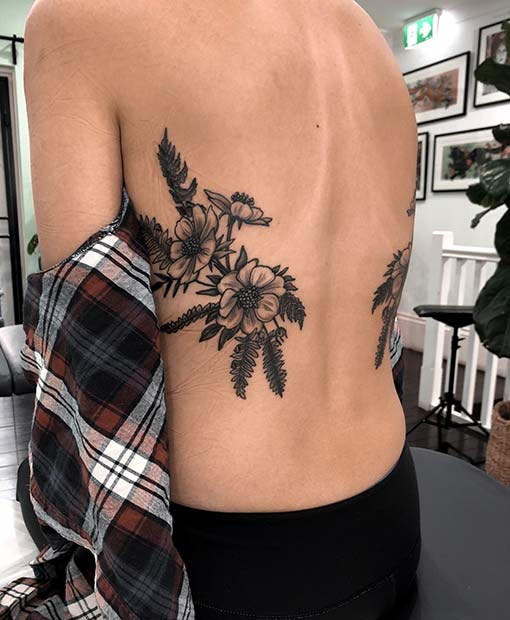 Flower Rib Tattoo Idea for Girls