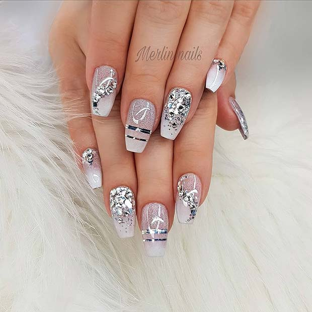 Glam, White and Silver Coffin Nails