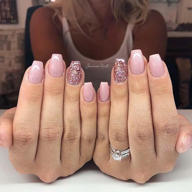 Light Pink and Glitter Short Ballerina Nails