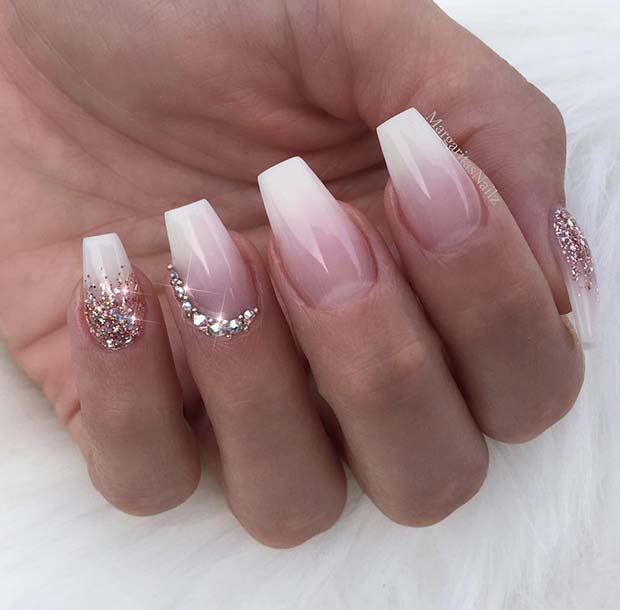 Ombre French Nails with Rhinestones