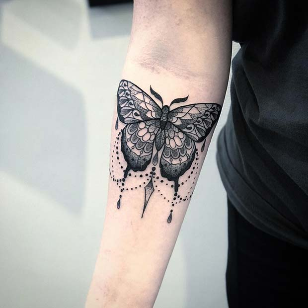 Patterned Butterfly Tattoo Idea for Girls