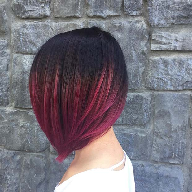 Short Dark Purple Ombre Hair