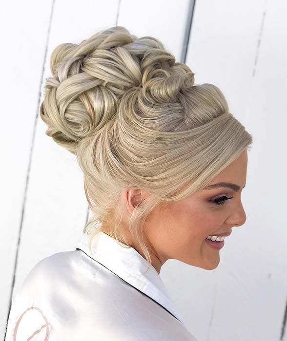 Elegant, High Bun Updo for Brides