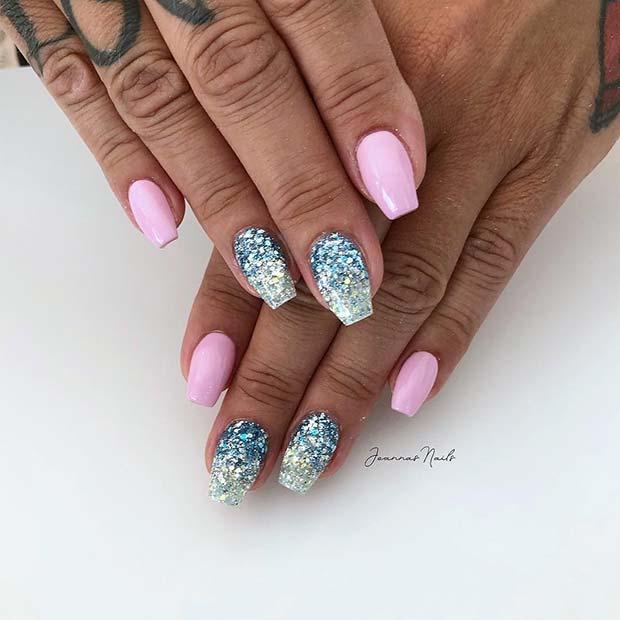 Stylish Blue Glitter Nails