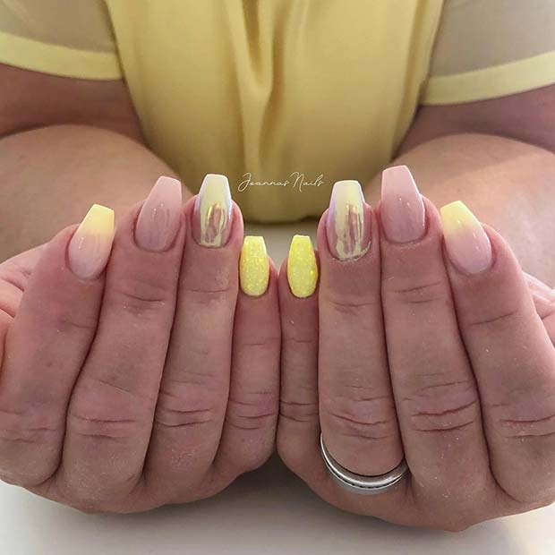 Stylish Yellow and Chrome Coffin Nails