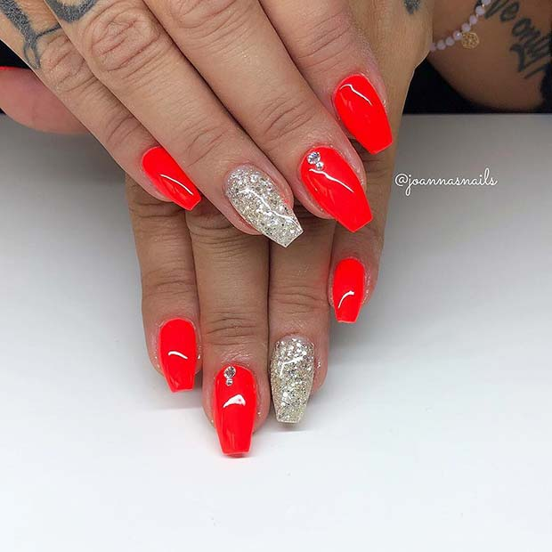 Vibrant, Short Coffin Nails with Glitter