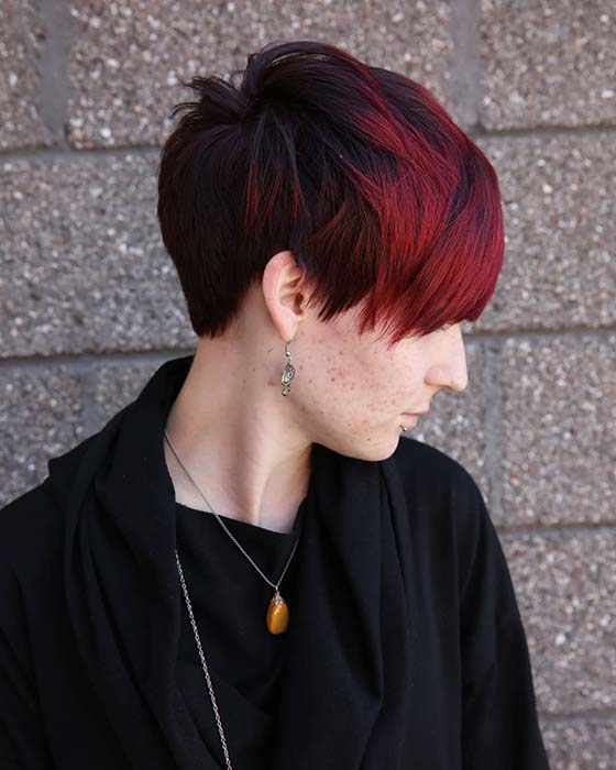 Black and Red Hair Combination for Short Hair