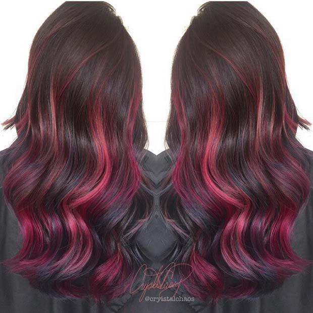 Red Highlights for Dark Hair