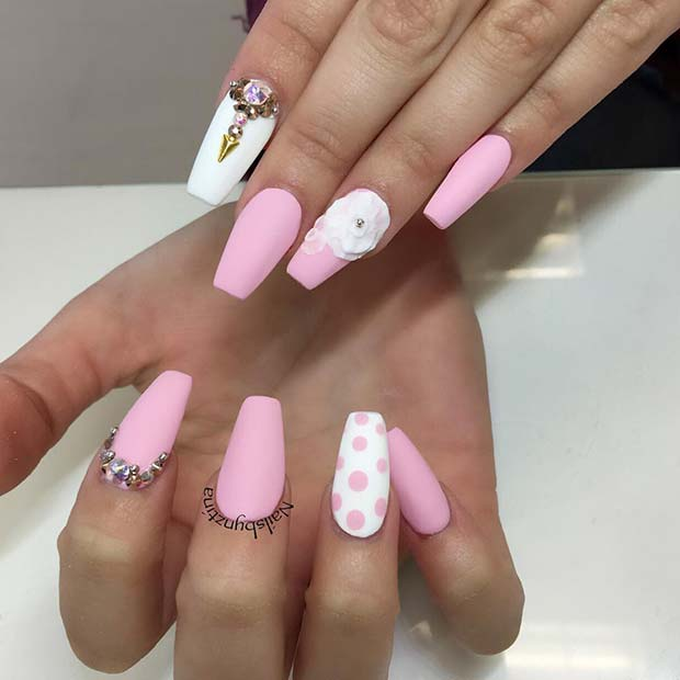 Matte Pink and White Nails