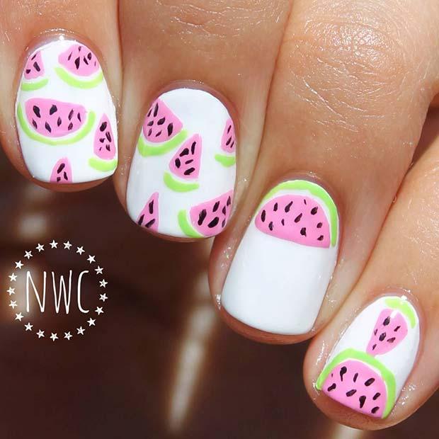 Fun Watermelon Nail Design