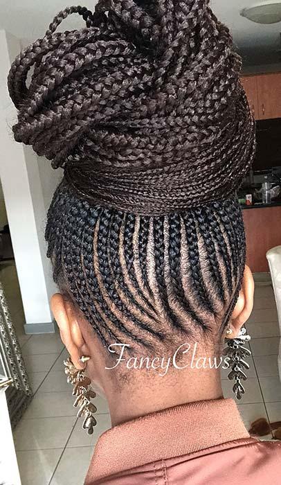 Glam Braided Bun for Black Hair