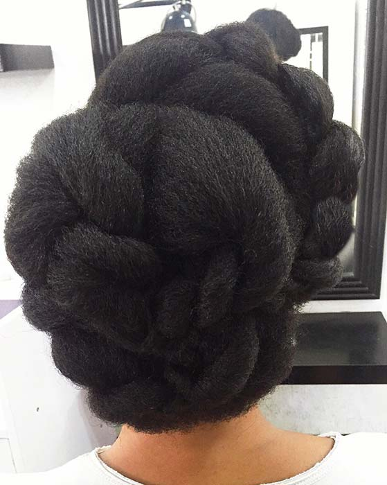 Braided Updo on Natural Hair