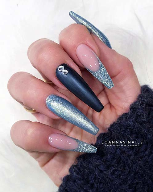 Beautiful Blue Coffin Nails