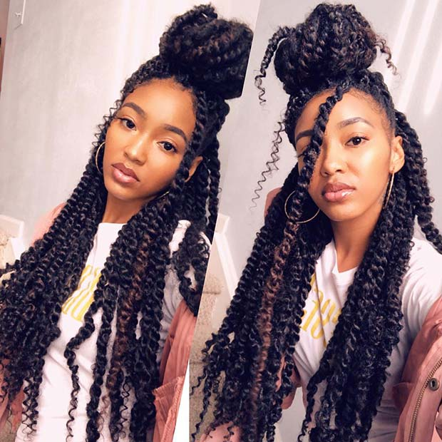 18. Chunky Twists into a Half-Up Bun