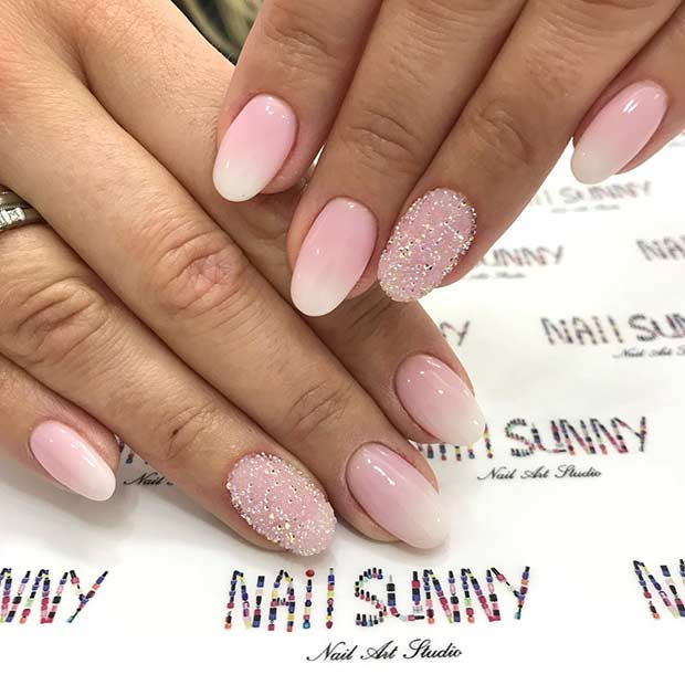 Light Pink and White French Ombre Nails