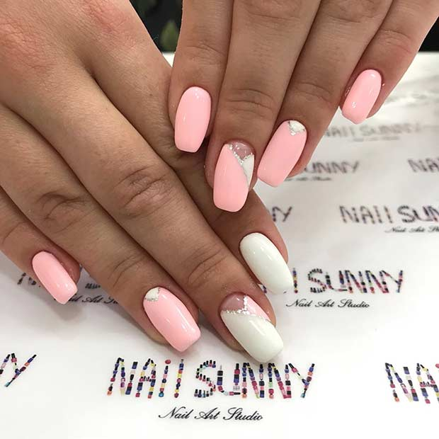 Light Pink and White Nails