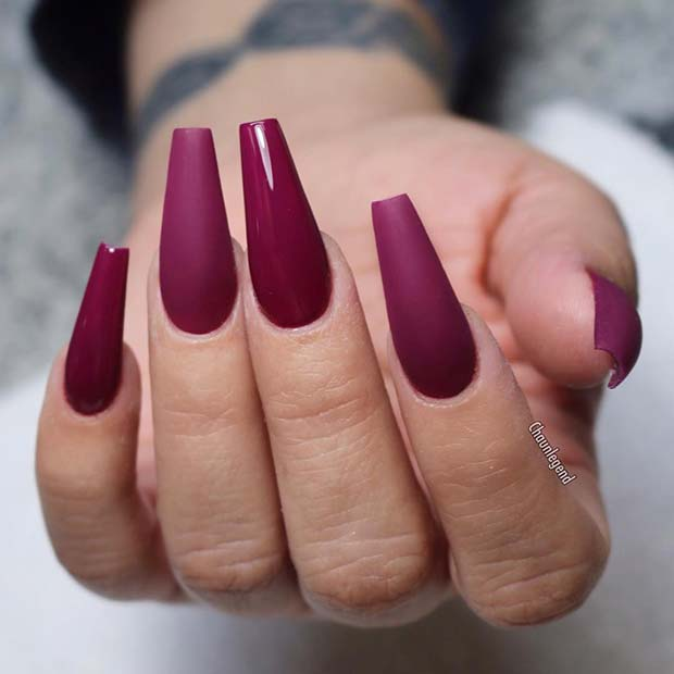 Long Matte and Glossy Coffin Nails