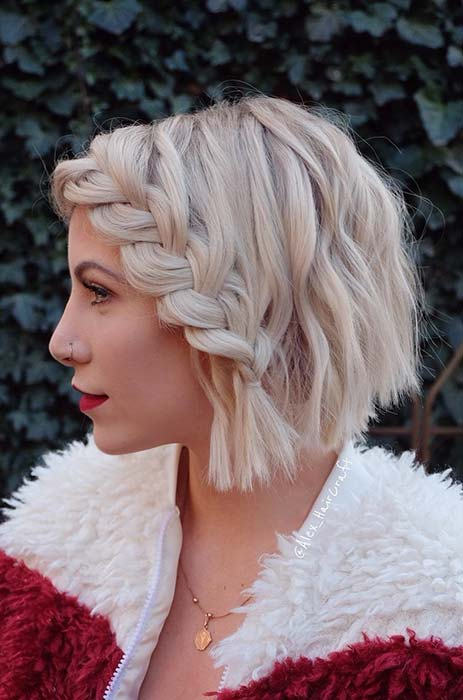 Short Bob with French Lace Braid