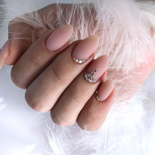 Soft Pink Nails with Rhinestones for Brides