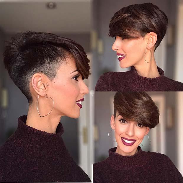 Very Short Haircut for Women + Side Swept Bangs