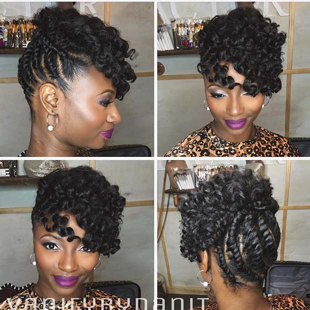 Stylish Twists and Curls Updo Idea