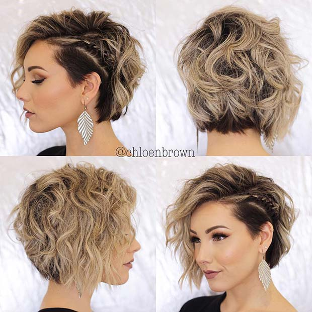 Messy Short Hair + Subtle Side Braid