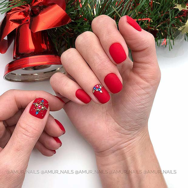 Bright Red Nails with Gems