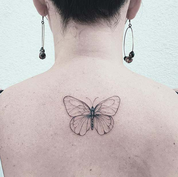 Simple Butterfly Back Tattoo