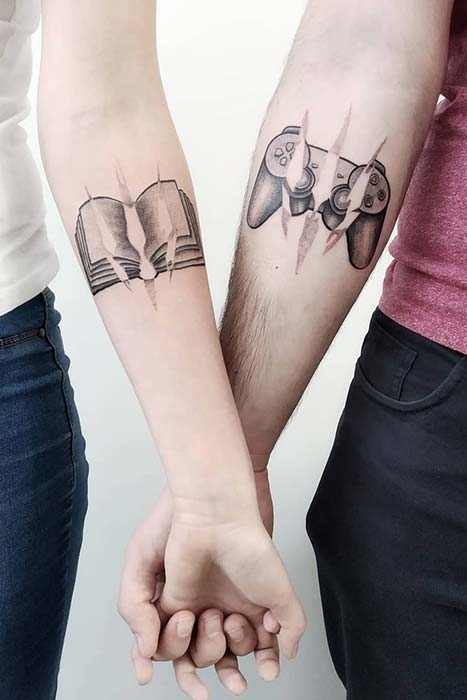 Couples Tattoo Idea for a Gamer and a Book Reader