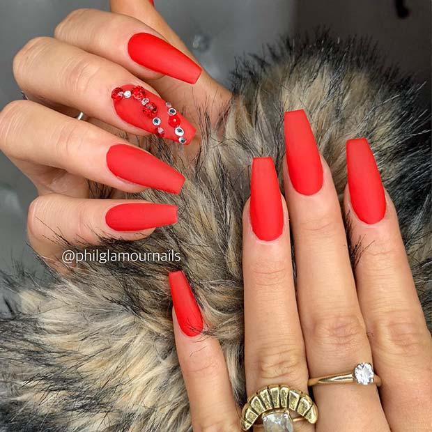 Red Matte Nails with Crystal Accent Nail