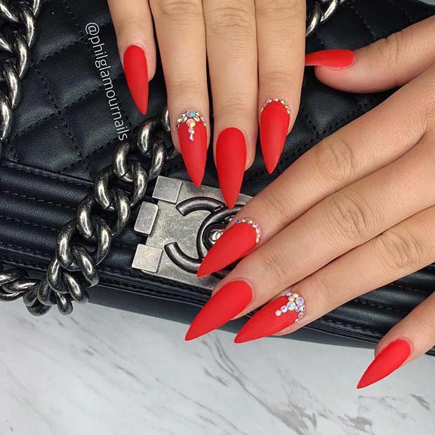 Red Stiletto Nails with Crystals