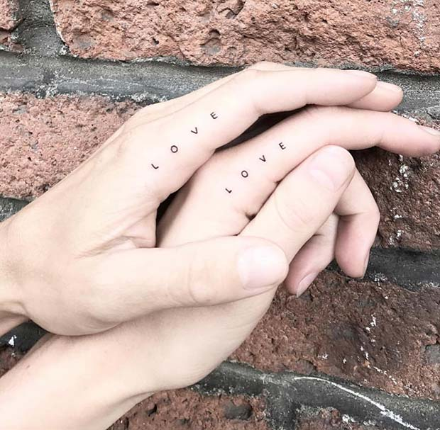 Simple and Matching Love Tattoos for Couples