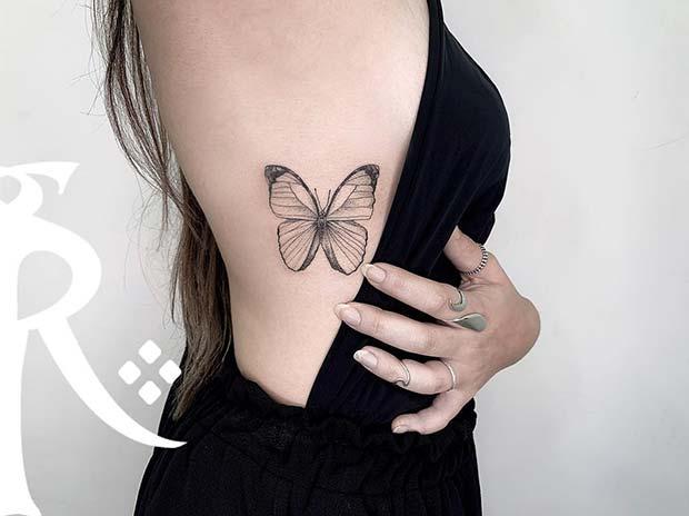 Stylish Rib Butterfly Tattoo