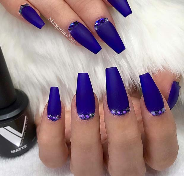 10. Matte Blue Coffin Nails with Gems